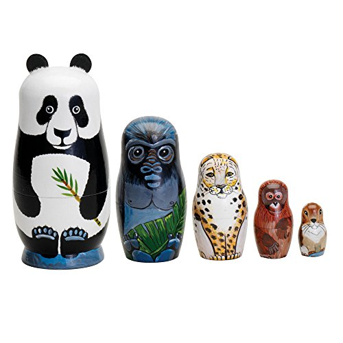 Bits and Pieces Endangered Species handgemalte Holz Nesting Dolls Matroschka Set 5 Puppen Von 14Cm Hoch