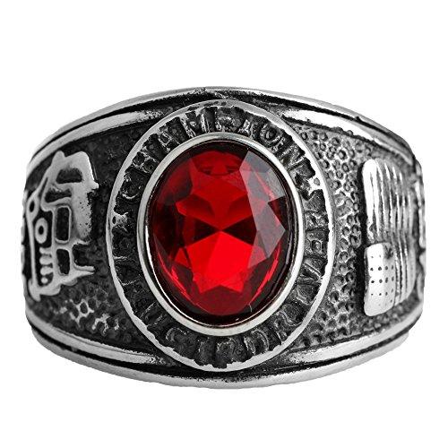 CARTER PAUL Hombres de acero inoxidable estilo americano diamante rojo / verde de piedra anillos de plata