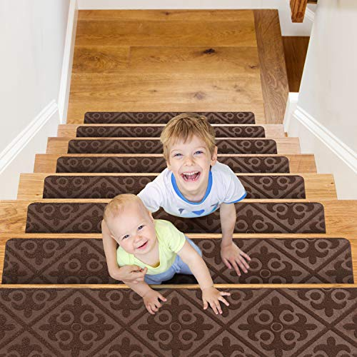 "CrystalMX Non-Slip Carpet Stair Treads, Anti Moving Grip and Beauty Rug Tread Safety for Kids Elders and Dogs, 8"" X 30"" (Brown, Set of 15)"