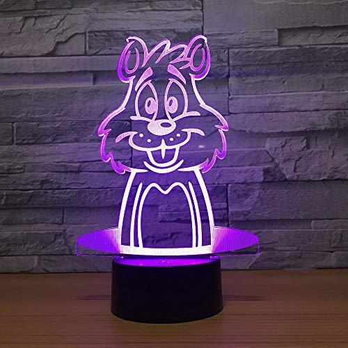 jiushixw 3D Acryl Nachtlicht mit Fernbedienung Farbwechsel Tischlampe gelb Licht Eiche niedlich Maus Form kreative Illusion Licht Nachtlicht Farbwechsel Atmosphäre Licht Roman