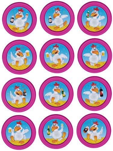 Tapes4you Ersatzchips mit Aufkleber für Looping Louie & Looping Chewie Chips Hasbro Drunken Louie Bierhuhn (Drunken Louie Weiß, Magenta)