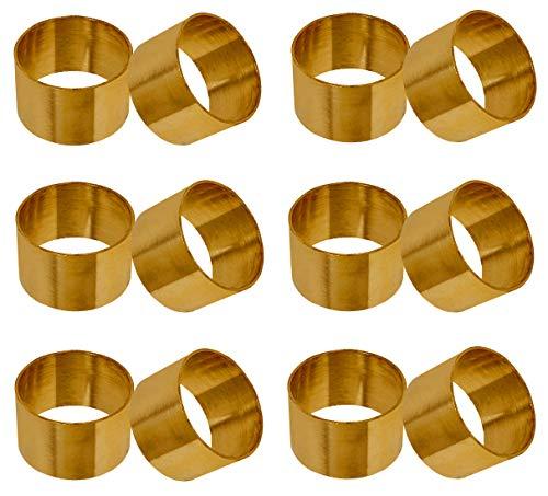 SKAVIJ Serviettenring 12 Stück Set Metall Solide Handgemacht für Esstischdekoration (Gold)