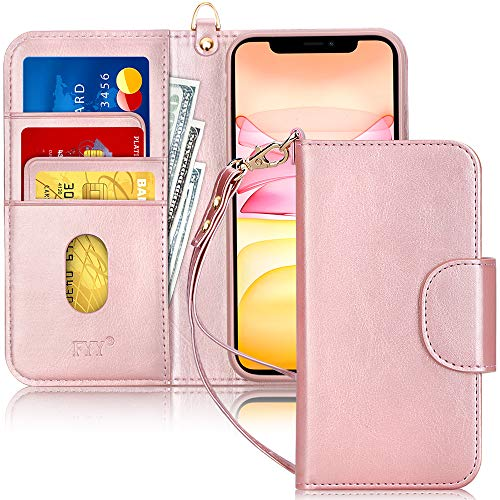 FYY Handyhülle für iPhone 11 6.1, iPhone 11 Hülle, Lederhülle mit Standfunktion und Kartenfach TPU Innenraum & [RFID-Schutz] Handytasche für Apple iPhone 11 6.1 Zoll (2019)-Rose Gold