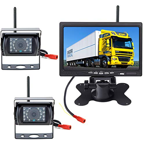 """pumpkin1:Funk Rückfahrkamera mit Monitor 2 x18 IR LED Nachtsicht wasserdichte Fahrzeug Rückfahrkameras kabellos(Ohne Parklinie) + 7\""""TFT LCD HD 800 x 480 Farbmonitor für LKWs/RV/Traile/Bus"""