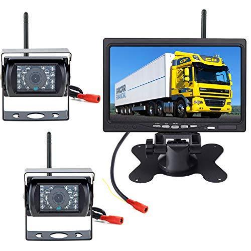 pumpkin1:Funk Rückfahrkamera mit Monitor 2 x18 IR LED Nachtsicht wasserdichte Fahrzeug Rückfahrkameras kabellos(Ohne Parklinie) + 7'TFT LCD HD 800 x 480...