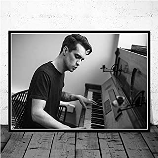 CHQUS Black and White Poster Brendon Urie Panic at The Disco Pop Star Music Wall Art Painting Canvas Wall Picture Room Home Decoration no Frame 40x60cm