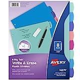 Avery Durable Plastic 8-Tab Write & Erase Big Tab Dividers for 3 Ring Binders, Pastel Brights (16271)