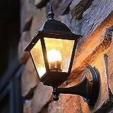 YBright Luz de pared exterior a prueba de agua Linterna decorativa de la pared de la pared con la lámpara de la sombra del vidrio del agua 33 cm Vintage aluminio de la vivienda de la pared de la pared