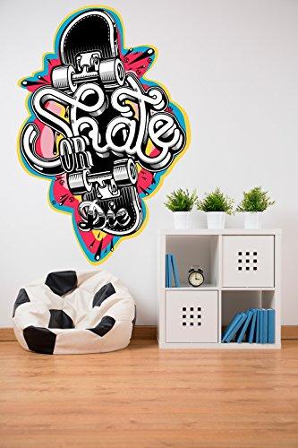 Vinilo Decorativo para Pared Skate   Varias Medidas 80x120cm   Pegatina Adhesiva Decorativa de Diseño Elegante