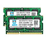8GB Kit (2x4GB) PC3 10600S DDR3 1333MHz 2RX8 Dual Rank PC2-10600 DDR3-1333 Sodimm 1.5V 204-pin Sdram Non-ECC Unbuffered Módulo de Memoria RAM para portátiles