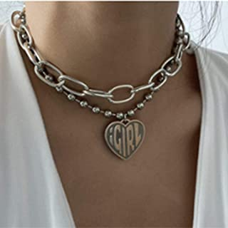YERTTER Bohemian Dainty Layered Chunky Beads Choker Necklaces Heart Pendant Double layer Adjustable Layering Chain Sliver ...