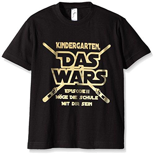 Coole-Fun-T-Shirts Jungen T-Shirt KINDERGARTEN DAS WARS, (Herstellergröße: 120), Schwarz (schwarz-gold)