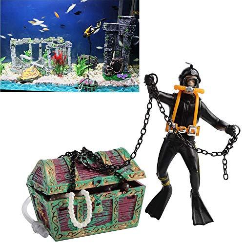 Bestgle - Adorno de acuario de acción, para el maletero del tesoro submarino, decoración de acuario de ventilación en directo, color negro