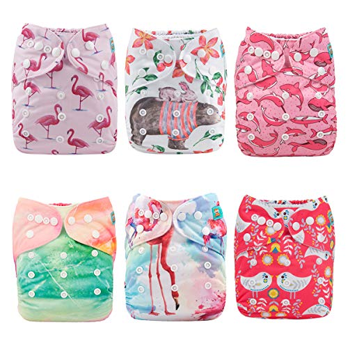 Neutral Color Alva Baby 6pcs Pack Pocket Washable Adjustable Cloth Diaper with 2 Inserts Each 6BM98