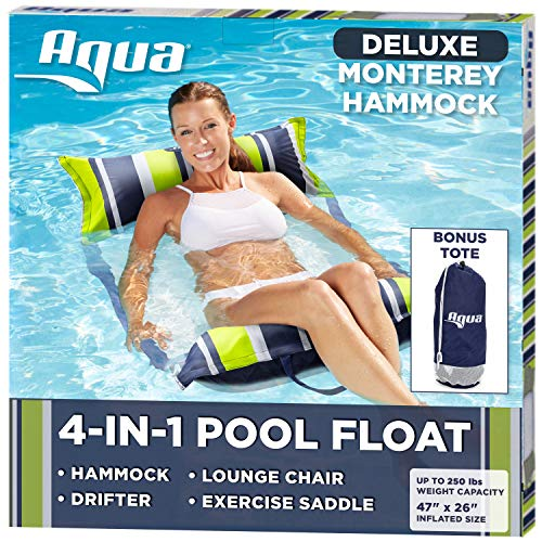 Aqua Deluxe Resort Quality Monterey Hammock, 4-in-1 Multi-Purpose Inflatable Pool Float (Saddle, Lounge Chair, Hammock, Drifter), Washable Premium Fabric, Stow-n-Go Tote Bag,Navy/Green Stripe