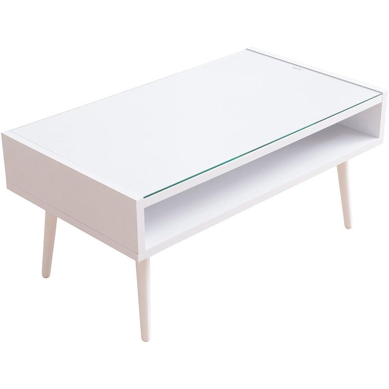 太鼓腹毒性三アイリスプラザ テーブル ローテーブル ガラス天板 収納 ディスプレイ ホワイト (約)幅80×奥45×高38cm CNMNTBLWN