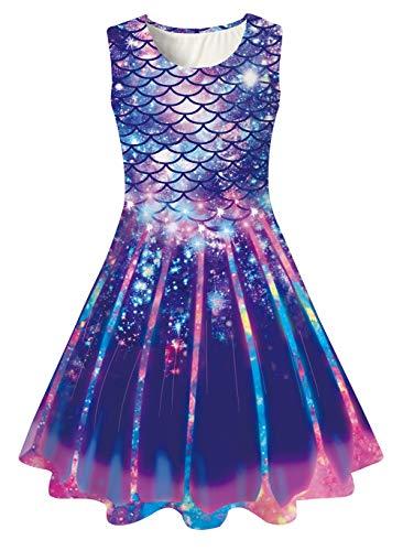Girls Sleeveless Dress Cute Mermaid Sundress Blue Purple Fish Scale Twirl Frocks Skirt Spring Galaxy Tank Playwear Skirt for 10-14 Years