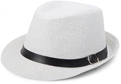 styleBREAKER Trilby Hut, Leichter Papierhut mit schwarzem Gürtel Zierband, Unisex 04025003, Farbe:Weiß