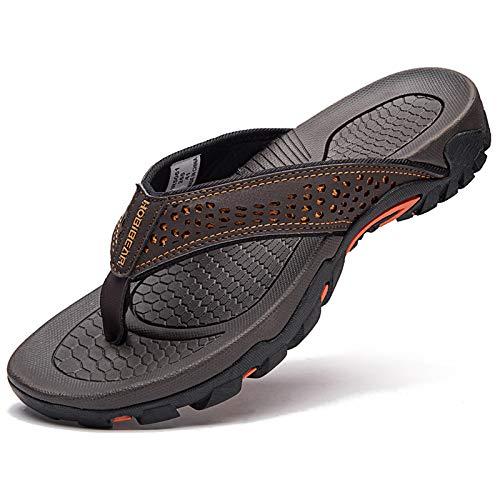 Mens Sport Flip Flops Comfort Casual Thong Sandals Outdoor(Brown 1, 10)