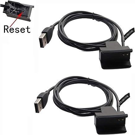 [2-PACK] TUSITA Cargador con botón de reinicio para Fitbit Alta / Fitbit Ace - Cable de carga USB Clip Cradle 100cm - Accesorios de Smart Fitness Activity Tracker