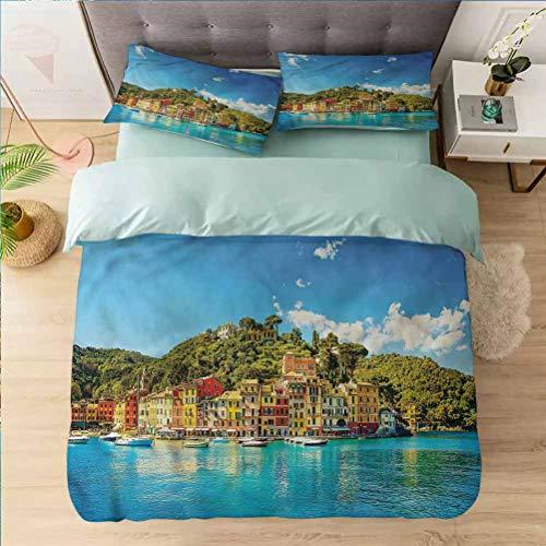 Aishare Store - Juego de funda de edredón de 3 piezas para cama individual, pueblo, ciudad europea por el mar, 1 funda de edredón con 2 fundas de almohada colección