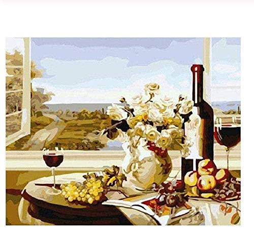 Wooden Jigsaw Puzzle 1000 Pieces,oil Painting Window Wine Suitable For Teenagers And Adults Wooden Puzzle Unique Home Decorations And Gifts Unique Gift Stress Reliever