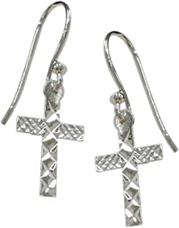 925 Solid Sterling Silver Dangling Plain Diamond Cut Tiny Cross Earrings - Small Dangle Catholic Jewelry