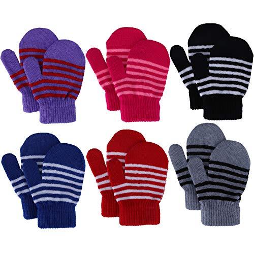 Kleinkind fäustlinge Winter Babyhandschuhe Gestrickte Streifenhandschuhe für Mädchen Jungen 1-4 Jahre alt, Skihandschuhe 6 Paare