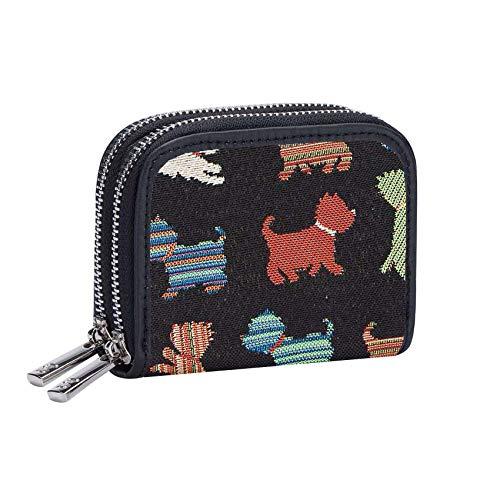Signare Tapestry Arazzo Porta Carte di Credito, Portafoglio Donna, con doppia zip e blocco RFID con disegni di cani e gatti (Cucciolo giocoso)