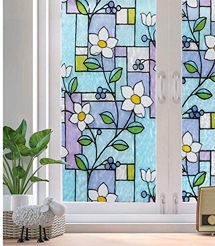 N / A Electrostatic lamination decorative window film privacy anti-adhesive self-adhesive door cover, heat control glass tint sticker for blocking ultraviolet rays, home decoration film A71 45x200cm