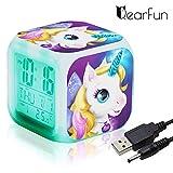 QearFun Unicornio Despertador Infantil Relojes de Alarma Digitales para niñas, LED de Noche Que Brilla intensamente Reloj LCD con luz para niños Despertar Reloj de cabecera (6)