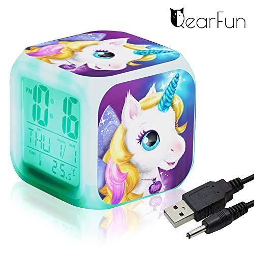 Eenhoorn-digitale wekker voor meisjes, LED Night Glowing Cube LCD-klok met licht kinderen wakker nachtkastje verjaardagsgeschenk voor kinderen vrouwen volwassenen slaapkamer