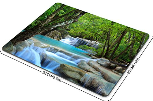 Smooffly Gaming Mouse Pad Custom,Waterfalls Forest Creek Landscape Trees Waterfall Stones Non-Slip Thick Rubber Mouse pad,9.5 X 7.9 Inch (240mmX200mmX3mm) Photo #3