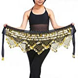 Women's Sweet Bellydance Hip Scarf with Gold Coins Skirts Wrap Noisy Black