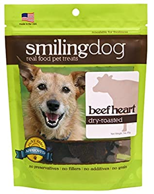 Herbsmith Smiling Dog Treats – Dry Roasted Beef Heart – Made In USA – 3 Ounce