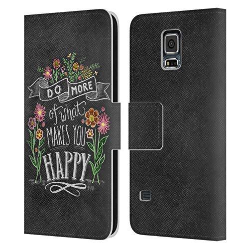 Head Case Designs Licenza Ufficiale Lily & Val Make You Happy Tipografia Floreale Cover in Pelle a Portafoglio Compatibile con Samsung Galaxy S5 / S5 Neo