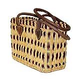 Simandra Seegras Tasche Korb Einkaufstasche Einkaufskorb Flechtkorb Korbtasche Palmgras Langer Griff klein Color Lila