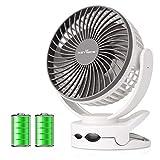 KEYNICE 扇風機 usb 卓上扇風機 充電式 ミニ扇風機 強風 静音 長時間連続使用 ホワイト