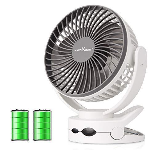 【2019年最新改良版】 KEYNICE usb扇風機 卓上扇風機 クリップ 充電式 ミニ扇風機 超強風 静音 風量4段階調...