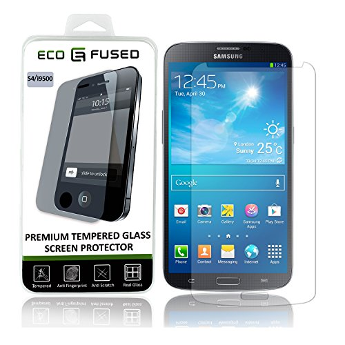 Proteggi-schermo di Qualità Superiore in Vetro Temperato per Samsung Galaxy S4 - Proteggischermo in vero vetro temperato con rivestimento oleofobico - Anti-impronte e antigraffio - Perfetta trasparenza e totale funzionalità Touchscreen - 1 Panno per pulire in Microfibra ECO-FUSED incluso (Samsung S4, Confezione singola)