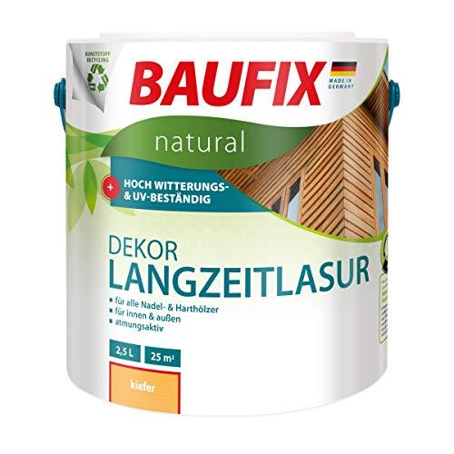 BAUFIX natural Dekor-Langzeitlasur kiefer, 2.5 Liter, Öko Holzlasur, atmungsaktive Ökofarbe aus nachhaltiger Produktion für außen-innen, vegan, UV-beständig, für alle Nadel-&harthölzer geeignet