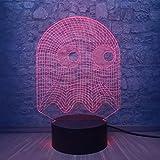 Juego PAC MAN 3D Lámpara de mesa Niños Juguete Regalo Led Luz de noche Juego de dibujos animados Tema Color Luz de noche Decoración del dormitorio LED Ilusión Niño Niños Bebé