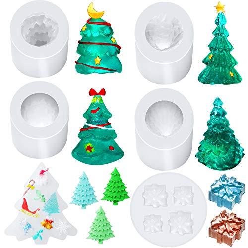 3D Christmas Tree Resin Mold Epoxy Christmas Tree Silicone Mold with 3D Christmas Box Mold, Mixed Christmas Snowflake Reindeer Santa Claus Mold for DIY Christmas Craft Making Decoration Supplies