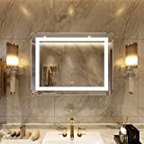 Petus PetusHouse 36 X 28 Inch LED Lighted Bathroom Mirrors, Wall Mounted White Light Dimmable Anti-Fog Memory Touch Button Waterproof CRI90 5MM Copper Free Mirrors, Vertical & Horizontal