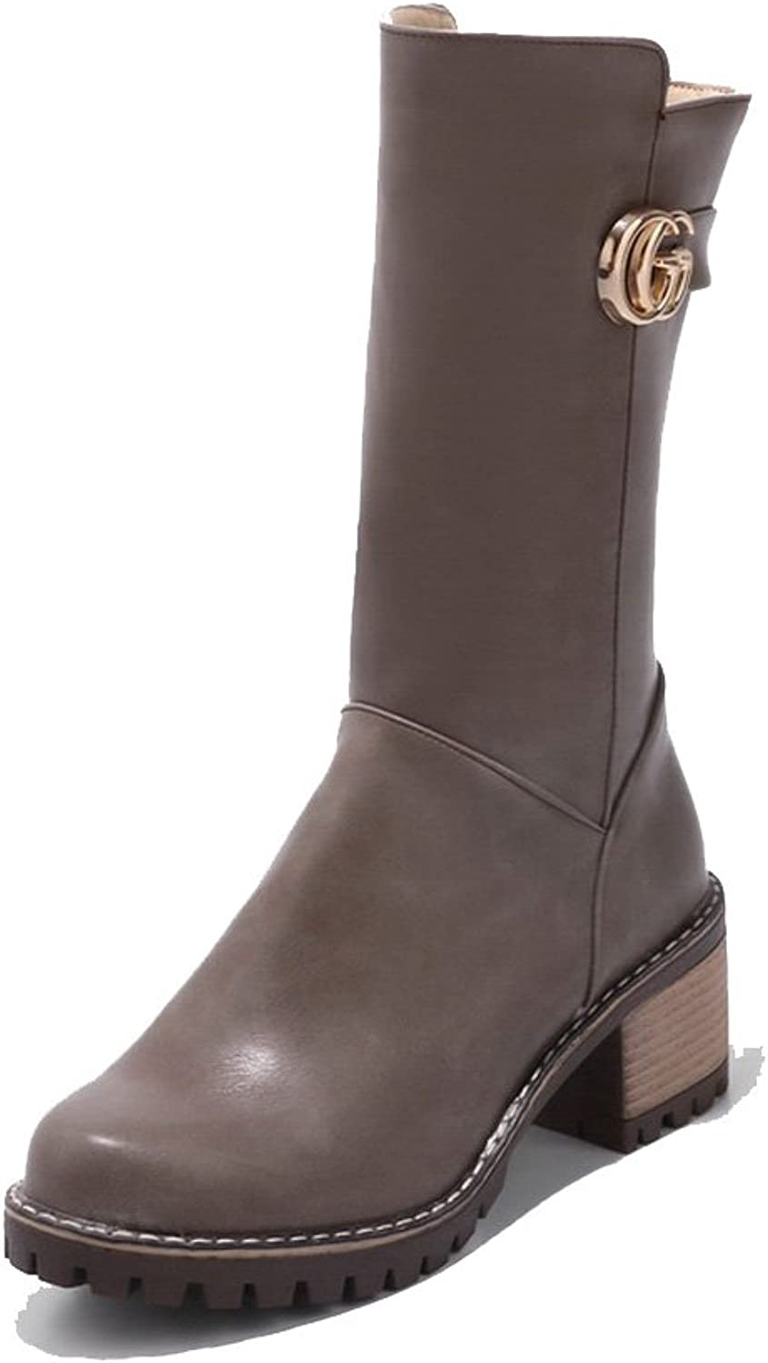 AandN Womens Boots High-Top Zip Low-Heel Solid Warm Lining Rubber Waterproof Road Smooth Leather Manmade Firm-Ground Slouch Urethane Boots DKU01899