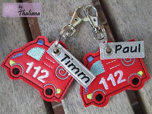 Anhänger personalisierbare Feuerwehr mit Namen rot Schlüssel-Anhänger Taschen-Anhänger Geschenk