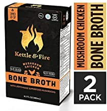 Mushroom Chicken Bone Broth by Kettle and Fire, Pack of 2, Keto Diet, Paleo Friendly, Whole 30 Approved, Gluten Free, with Collagen, 10g of protein, 16.2 fl oz