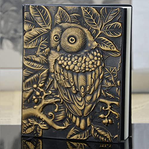 ZCSMTZ Cuaderno de bocetos con diseño de búho, tamaño A5, vintage, hecho a mano, antiguo cuaderno de bocetos, 4 colores para tu elección (bronce amarillo)