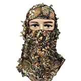 RUNPO Hunting Mask Camouflage 3D Leaf Ghillie Camo Face Mask Leafy, Full Coverage, Lightweight Breathable Hunting Veil for Men, Women