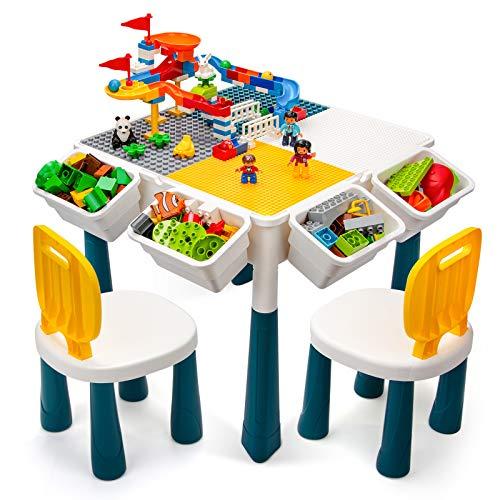 Juego de mesa y 2 sillas para niños, 7 en 1, 116 piezas de bloques de construcción grandes, compatibles con ladrillos, mesa de agua, bloques de construcción con almacenamiento para niños pequeños